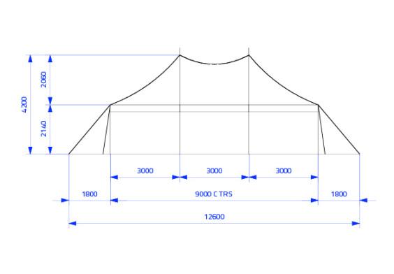 6m x 9m Electron - 3 piece roof | baytex - 2
