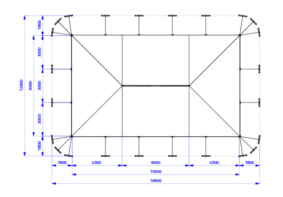 9m x 15m Electron - 3 piece roof | Baytex - 0