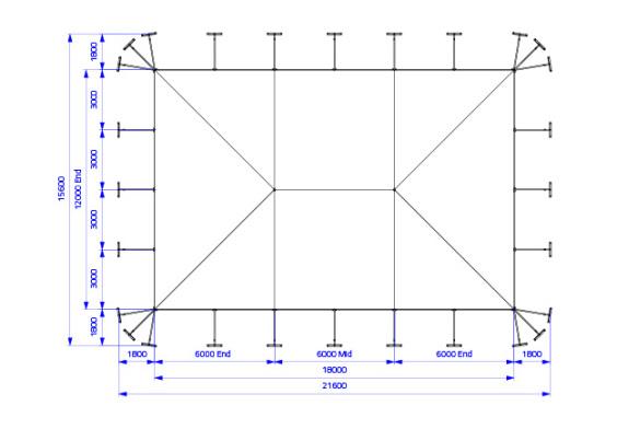 12m x 18m Electron - 3 piece roof | Baytex - 0