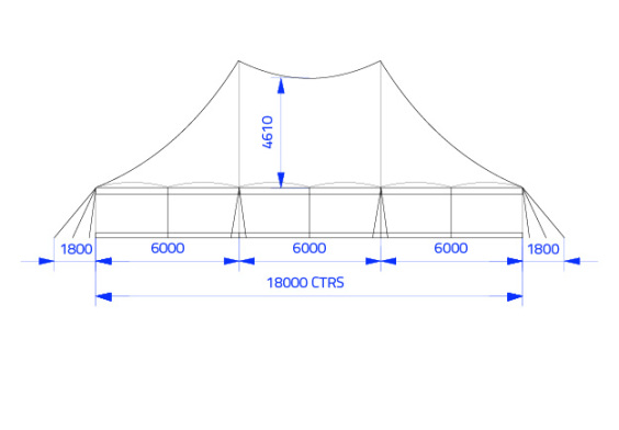 18m x 12m Electron - 2 piece roof | Baytex - 1