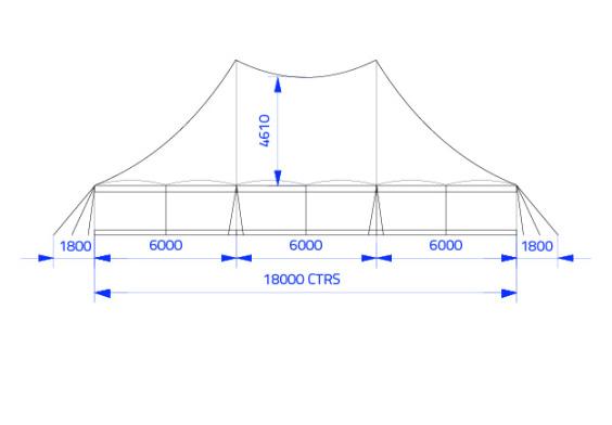 18m x 18m Electron - 3 piece roof | Baytex - 2