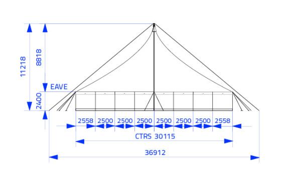 20m x 20m Electron - 2 piece roof | Baytex - 2