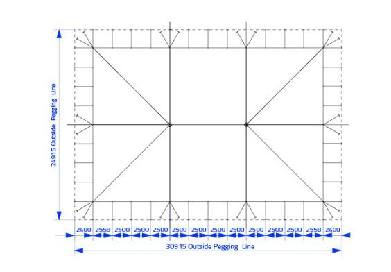 20m x 30m Electron - 3 piece roof | baytex - 0