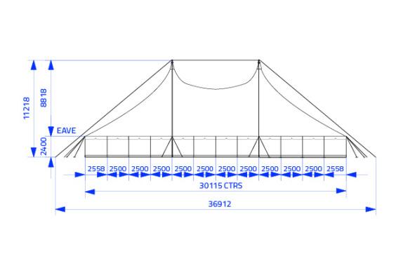 20m x 30m Electron - 3 piece roof | baytex - 2