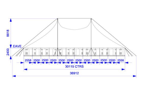 30m x 30m Electron - 3 piece roof | Baytex - 1