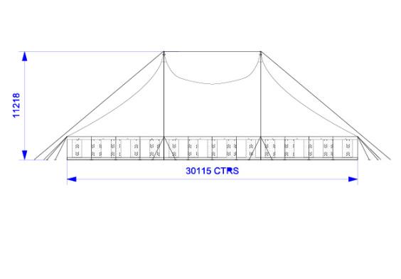 30m x 30m Electron - 3 piece roof | baytex - 2